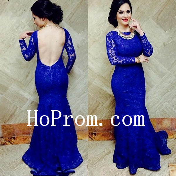 Lace Mermaid Prom Dresses,Long Sleeve Prom Dress,Evening Dress