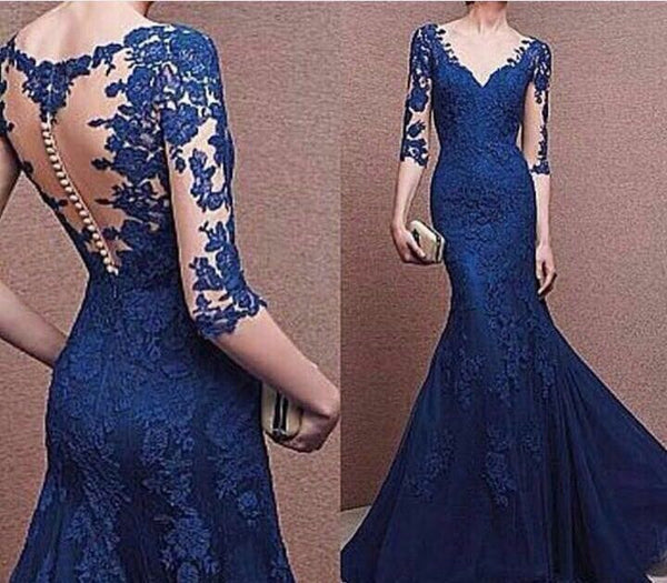 Lace Blue Prom Dresses,Long Sleeve Prom Dresses,Evening Dress