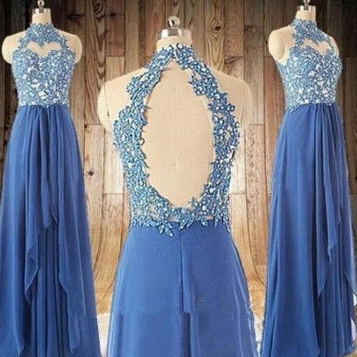 Blue Halter Prom Dresses Blue Long Prom Dress Lace Evening Dress
