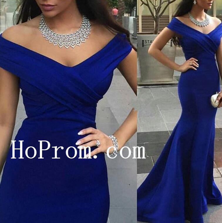 Blue Satin Long Prom Dresses,Off Shoulder Prom Dress,Evening Dress