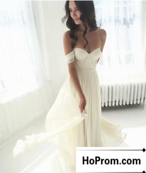 Off Shoulder White Chiffong Long Prom Dresses Evening Dress