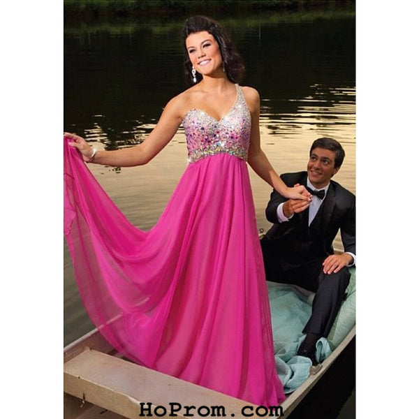 One Shoulder Prom Dresses,Hot Pink Prom Dress,Evening Dresses