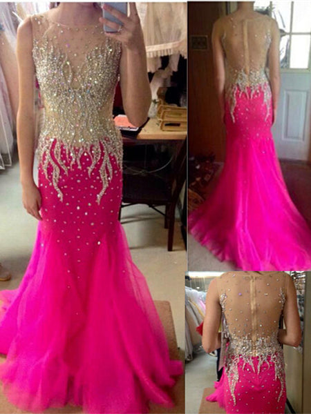 Sparkling Prom Dresses,Backless Prom Dress,Pink Evening Dress