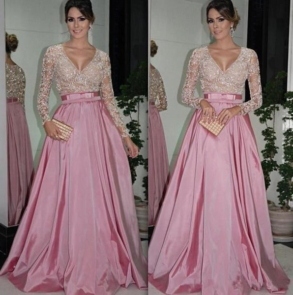 V-Neck Lace Prom Dresses,Pink Prom Dress,Evening Dress