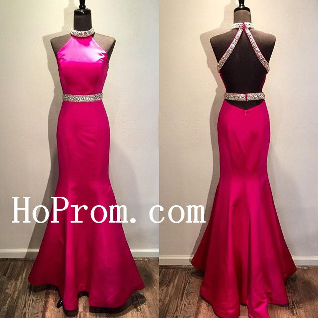 Halter Prom Dresses,Hot Pink Prom Dress,Evening Dress