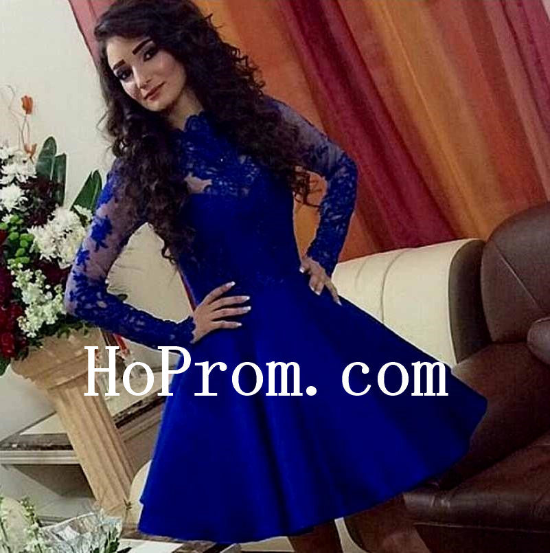 Short Blue Prom Dresses,Lace Prom Dress,Evening Dress