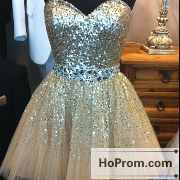 A-Line Sequins Sweetheart Short Prom Dresses Homecoming Dresses