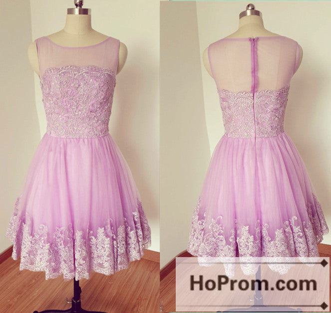 A-Line Sleeveless Lace Prom Dresses Homecoming Dresses
