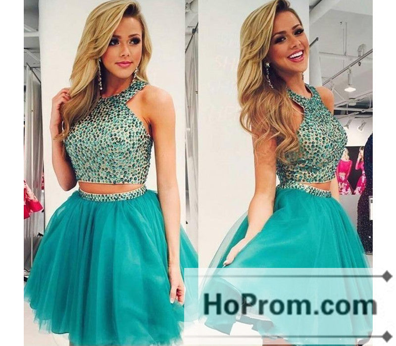 A-Line Two Piece Beaded Prom Dresses Homecoming Dresses