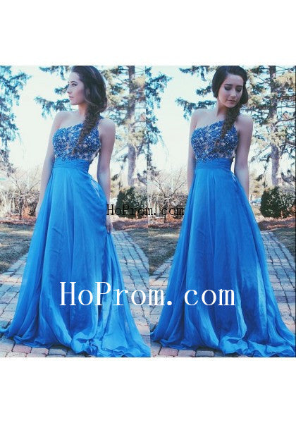 Lovely Blue Prom Dresses,One Shoulder Prom Dress,Evening Dress
