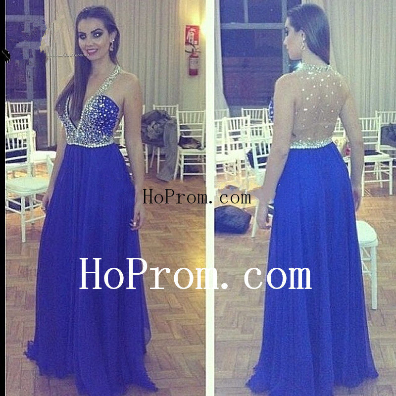 See Through Prom Dresses,Blue Prom Dress,Evening Dress