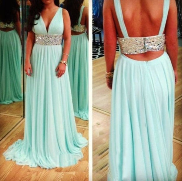 V-neck Prom Dresses Sexy Beading Prom Dress Evening Dress