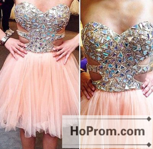 Crystal Beaded Short Sweetheart Prom Dresses Homecoming Dresses