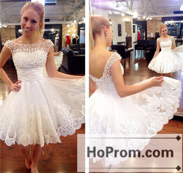 White Beading Short A-line Prom Dresses Homecoming Dresses
