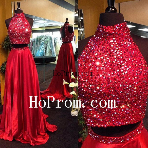 High Neck Red Prom Dresses,Beading Prom Dress,Evening Dress