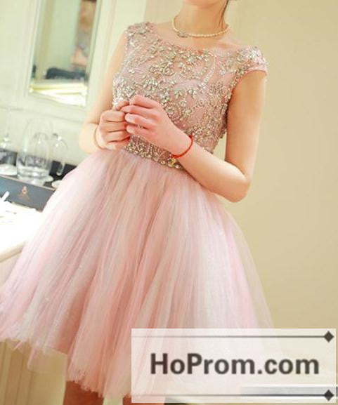 Cap Sleeve Short Pink Tulle Prom Dresses Homecoming Dresses
