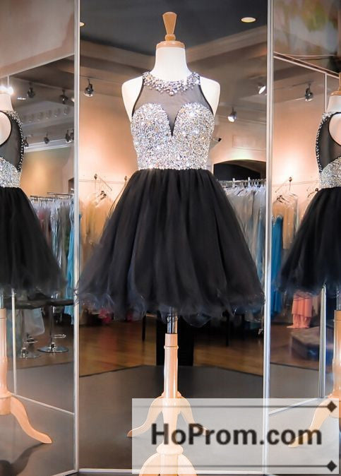 Two Piece Black Short Beaded Prom Dresses Homecoming Dresses