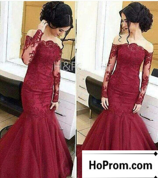 Long Sleeve Burgundy Lace Prom Dresses Evening Dress
