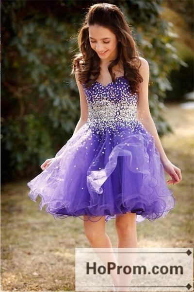 A-Line Sweetheart Purple Short Prom Dresses Homecoming Dresses
