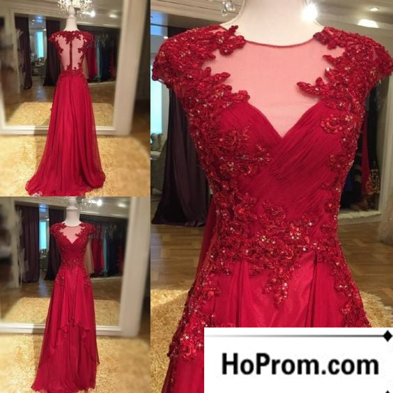 Cap Sleeve A-Line Applique Prom Dresses Evening Dress