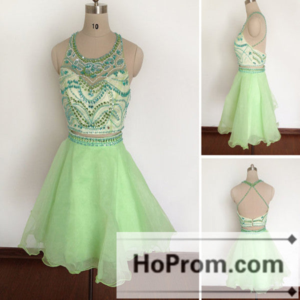 A-Line Green Short Backless Prom Dresses Homecoming Dresses