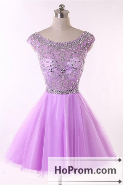 Cap Sleeve Short Purple Prom Dresses Homecoming Dresses