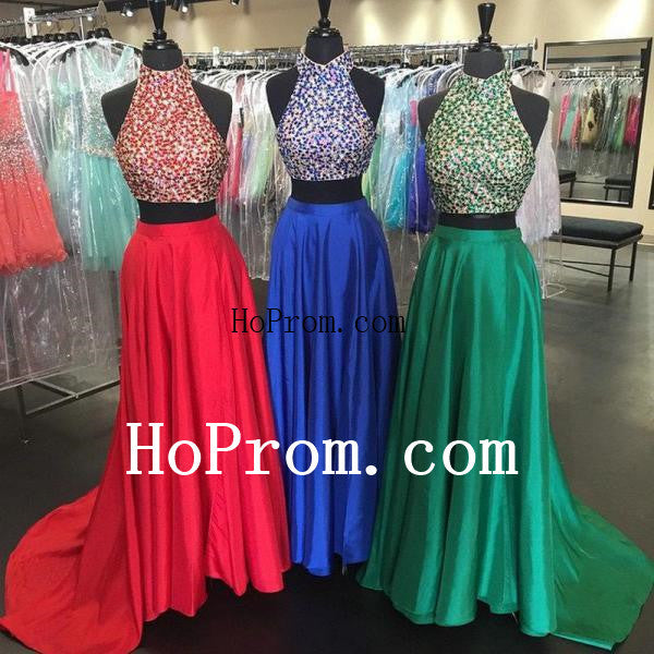 Two Piece Prom Dresses,Beading Prom Dress,Evening Dress