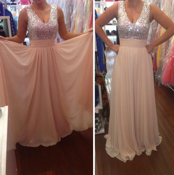 Sequins Prom Dress Chiffon Evening Dresses Formal Dress