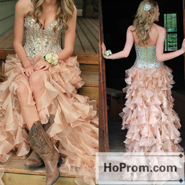 High Low Sweetheart Ruffles Prom Dresses Homecoming Dresses
