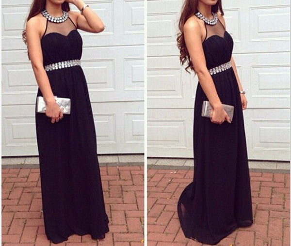 Prom Dress Black Long Beading Prom Dresses Evening Dresses