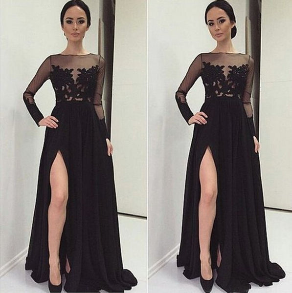 Sexy Black Prom Dresses Lace Prom Dresses Black Evening Dresses
