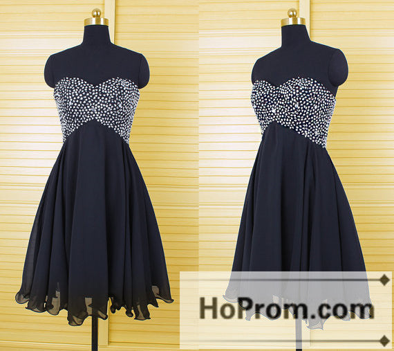 Black Beading A-line Short Prom Dresses Homecoming Dresses