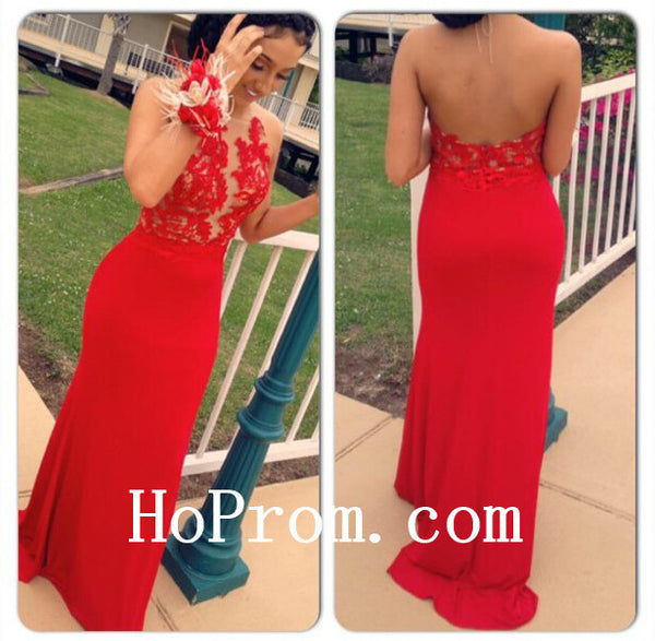 Backless Satin Prom Dresses,Red Prom Dress,Evening Dress