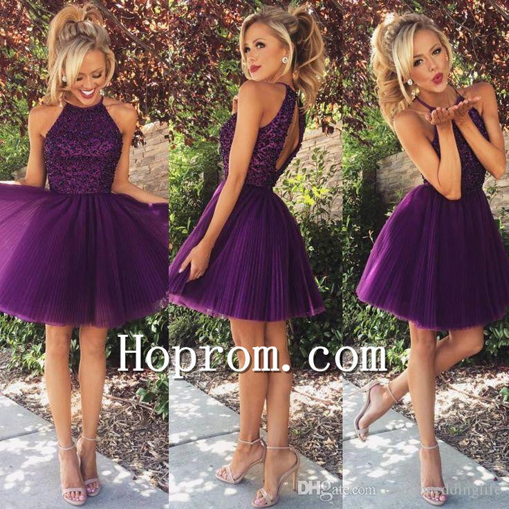 2020 Short Halter Purple Tulle Prom Dress Homecoming Dresses