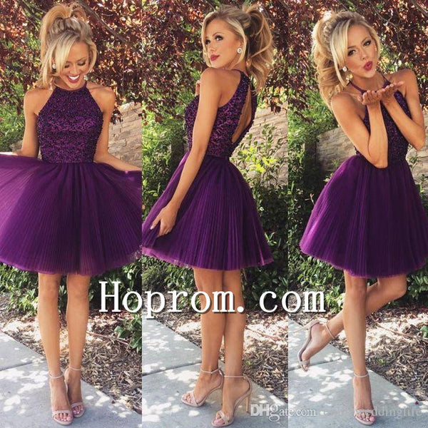 2017 Short Halter Purple Tulle Prom Dress Homecoming Dresses