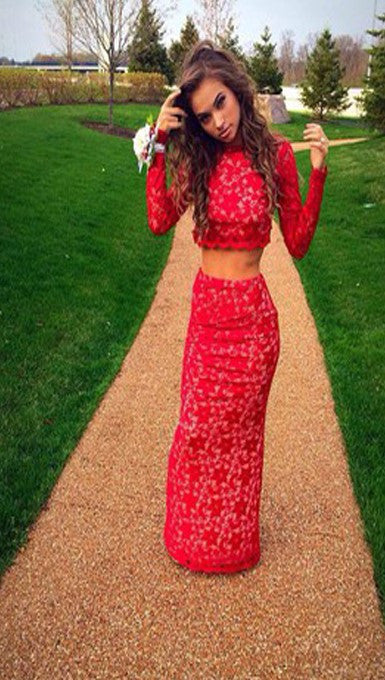 Two Piece Prom Dresses,Lace Red Prom Dress,Evening Dress