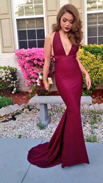 V-Neck Prom Dresses,Burgundy Prom Dress ,Evening Dress