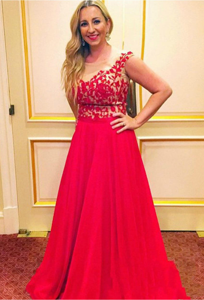 Lace Applique Prom Dresses,Red Prom Dress,Chiffon Evening Dress