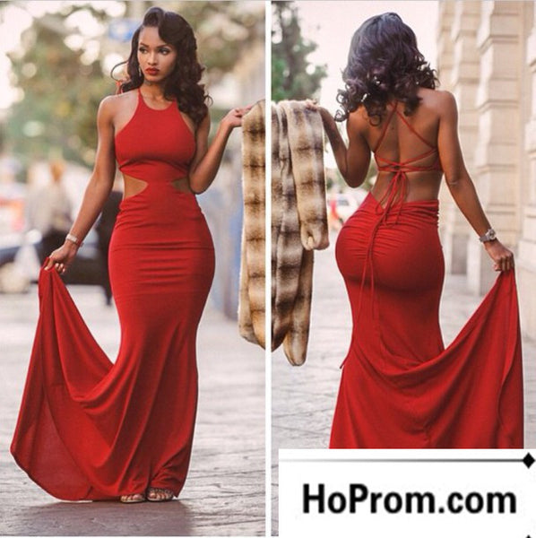 Mermaid Open Back Red Long Prom Dress Evening Dresses