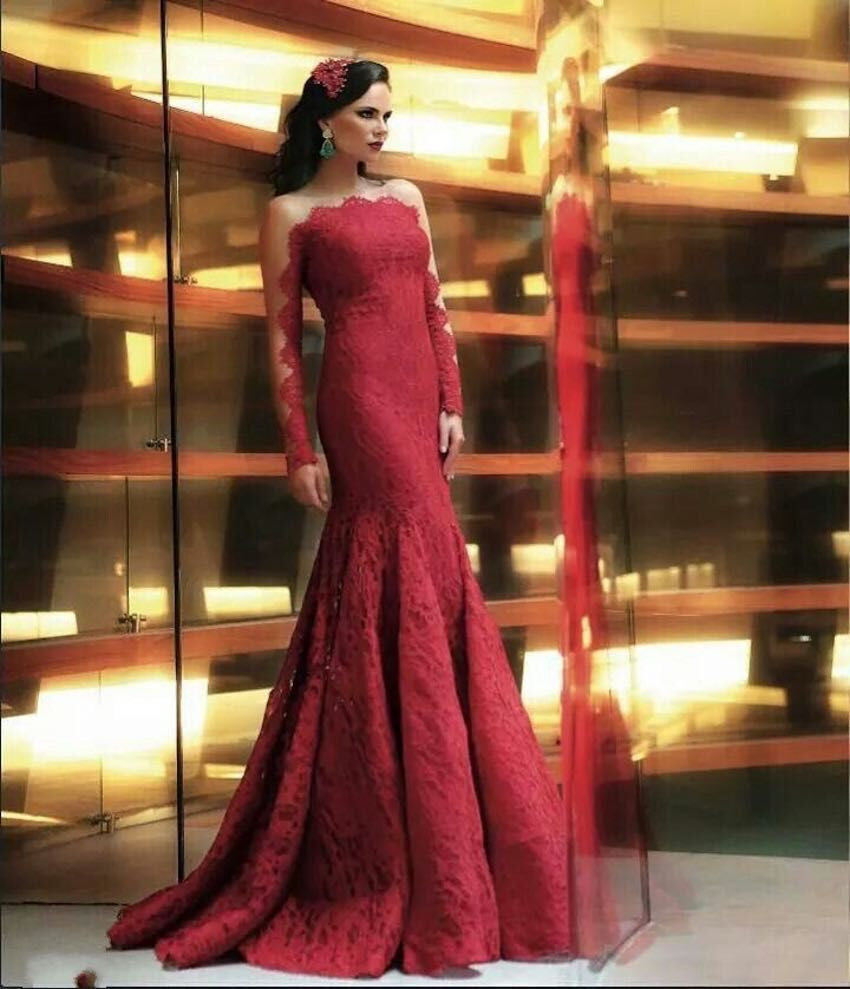 Lace Red Prom Dresses,Long Sleeve Prom Dresses,Evening Dress