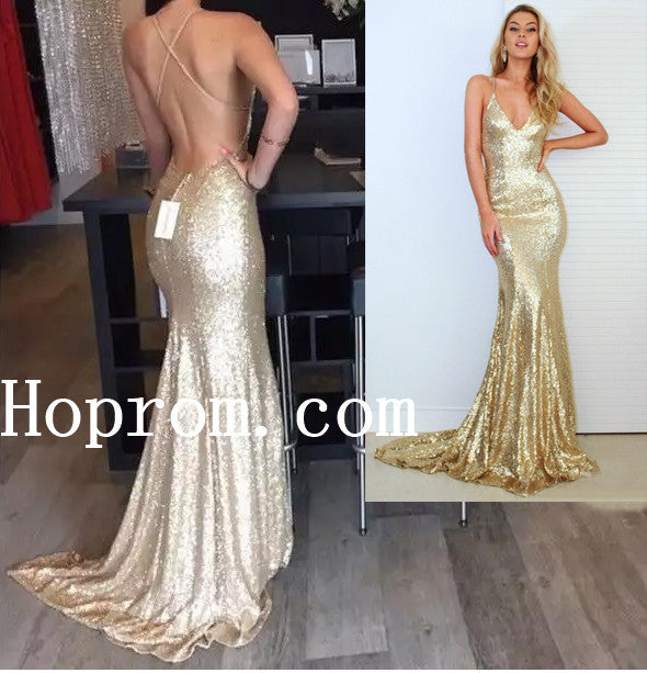 Spaghetti Straps Prom Dresses,Sequin Prom Dress,Evening Dress