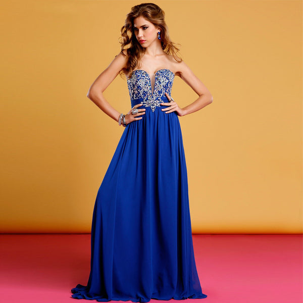 Sweetheart Prom Dresses,Strapless Prom Dress,Blue Evening Dress