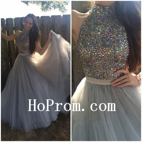 Colorful Crystal Prom Dresses,High Neck Prom Dress,Evening Dress