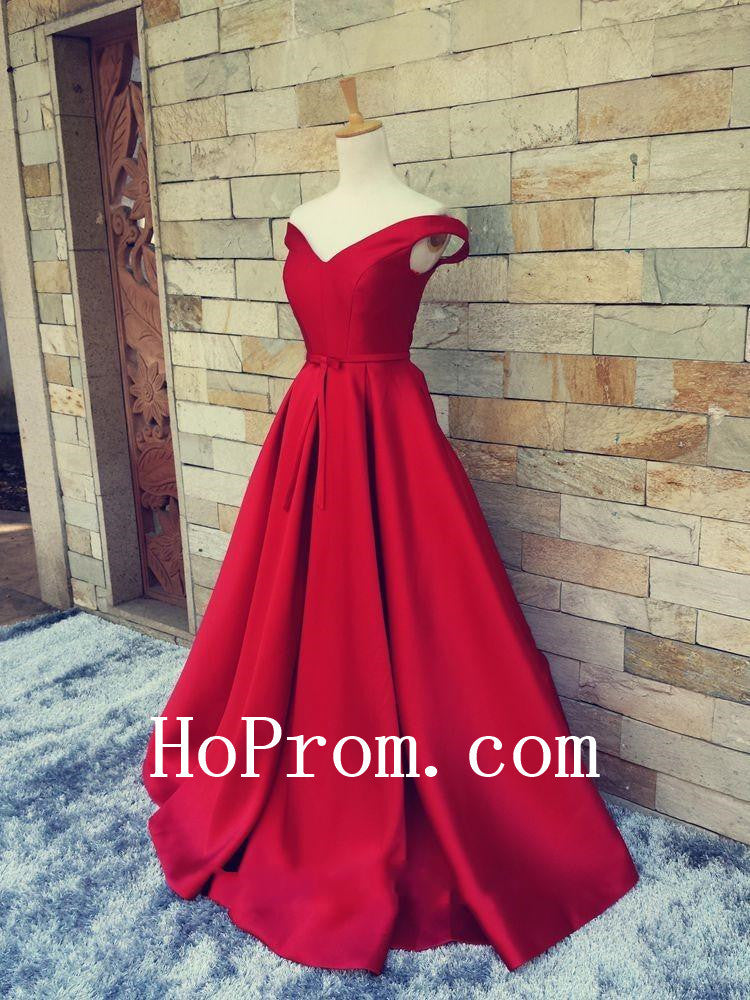 Long Red Prom Dresses,Satin Prom Dress,Evening Dress