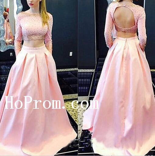 Long Sleeve Prom Dresses,Two Piece Prom Dress,Evening Dress