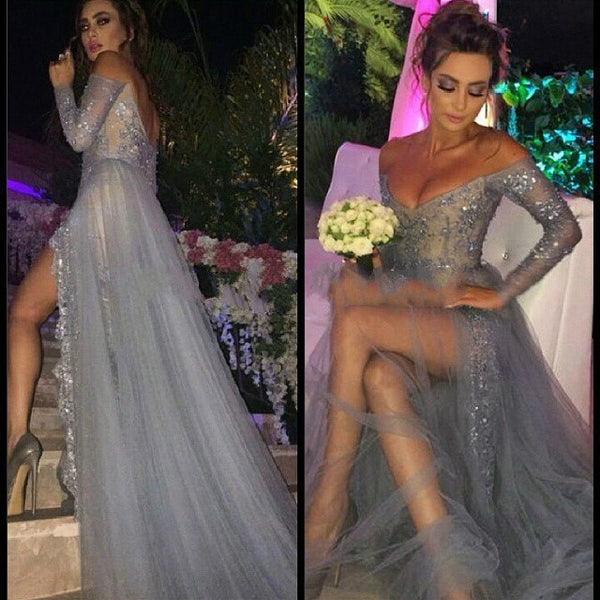 Grey Slit Prom Dresses,Sexy Prom Dress,Off Shoulder Evening Dress