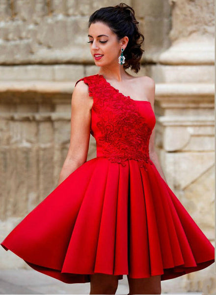 Red Short Prom Dresses,One Shoulder Prom Dress,Evening Dress