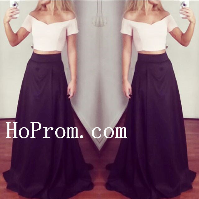 Short Sleeve Prom Dresses,Two Piece Prom Dress,Evening Dresses