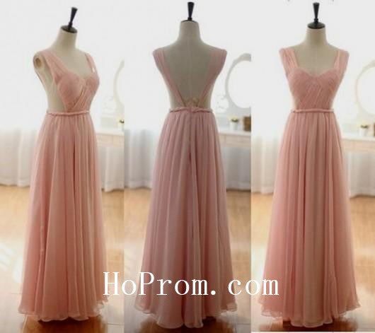 Long Prom Dresses,A-Line Prom Dress,Pink Evening Dresses