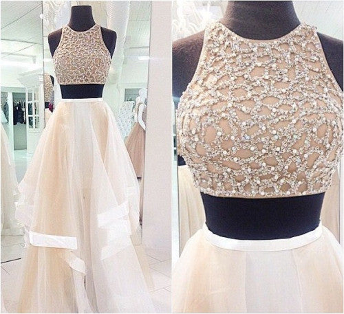 Prom Dresses Beading Prom Dress Two-piece Prom Dress Evening Dresses